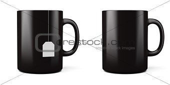3d illustration of black cup isolated on white background