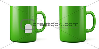 3d illustration of green cup isolated on white background