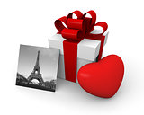 Valentine's Day gift box with a big red heart and Eiffel Tower