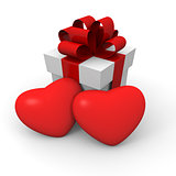 Valentine's Day gift box with two big red hearts
