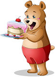 Young Bear Holding A Cake