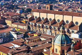 above view of The Basilica of San Petronio in Bologna