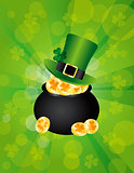 St Patricks Leprechaun Hat on Pot of Gold Background