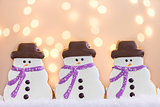 Snowmen Cookies with Lights