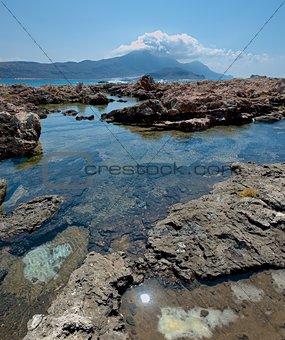 Rocky shore.  Panorama