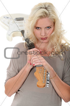 foxy blonde with guitar