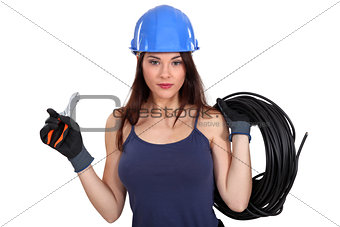 Sexy female electrician