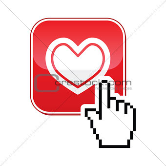 Heart button with cursor hand icon - velntines, love, online dating concept
