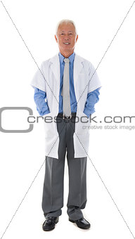 senior asian medical officer full body