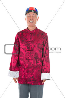asian chinese senior man celebrating chinese new year