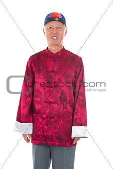 asian chinese senior man celebrating chinese new year