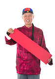 asian  senior chinese man celebrating lunar new year, holding lu