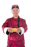 senior chinese man with gold bullion and traditional chinese clo