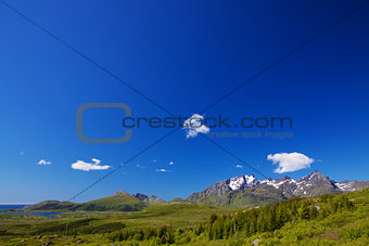 Panorama with blue sky