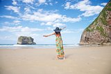 open arms woman in Ballota beach