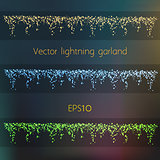 Vector Lightning Garland In Three Different Colors