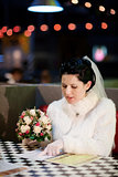 bride choosing menu