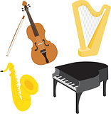 Cartoon music instruments set 1