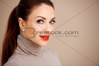 Beautiful sexy woman in red lipstick