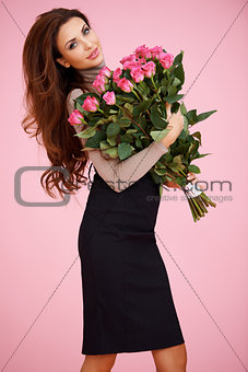Sexy woman with Valentine roses