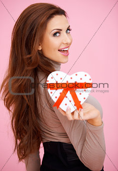 Vivacious woman with Valentine gift