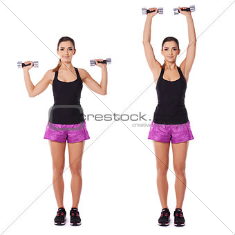 Woman working out with dumbbells in a gym