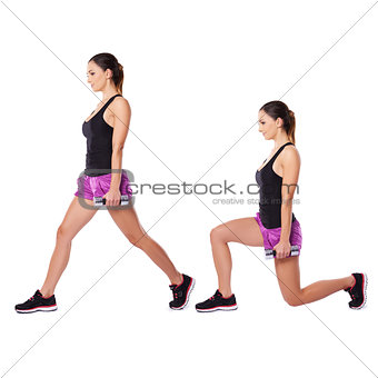 Athletic woman working with dumbbells