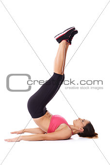 Energetic young woman working out