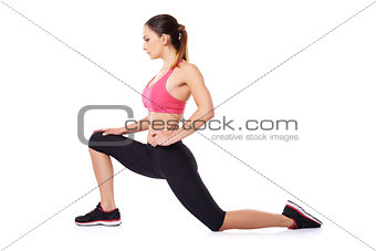Fit slender woman working out