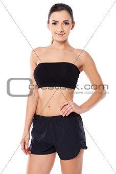 Beautiful woman with a bare midriff