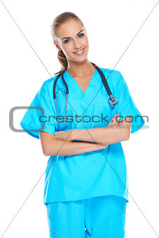 Young doctor holding her stethoscope around her neck