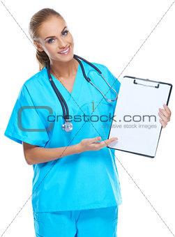 Beautiful gorgeous nurse holding writingpad and smiling