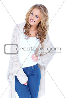 Casual dressed sexy woman with beautiful smile