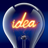 The word &quot;idea&quot; light bulb inside