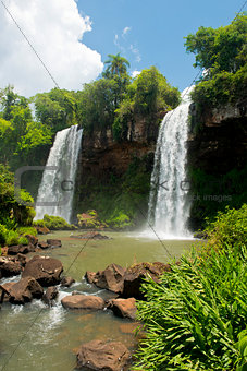 Two Waterfalls  at the Iguazu Falls