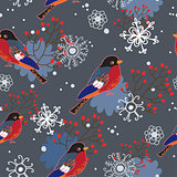 Winter seamless pattern with bullfinches.Seamless pattern can be used for wallpaper, pattern fills, web page background,surface textures.