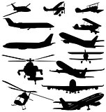 helicopters and planes silhouettes