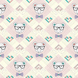 Seamless pattern with hipster polar bear and hearts.