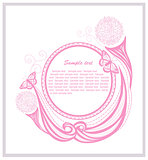 Invitation template with floral elements. Abstract border