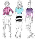 Young fashion girls illustration. Vector illustration.
