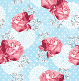 Seamless pattern with flowers  Floral background with roses