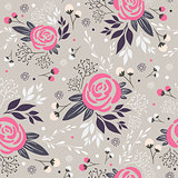 Seamless floral pattern. Background with flowers, leafs