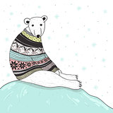Christmas card with cute polar bear. Bear with  sweater