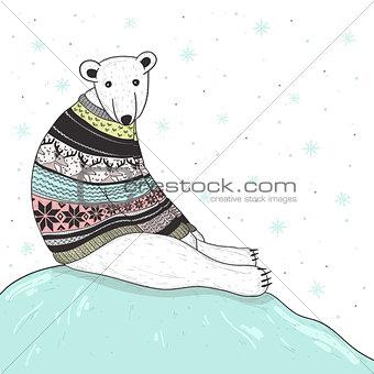 Christmas card with cute polar bear. Bear with  sweater
