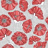 seamless floral poppy pattern