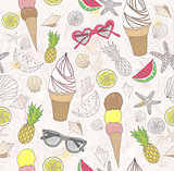 Cute summer abstract pattern. Seamless pattern with ice creams,