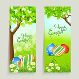Set of Easter Cards with Grass and Tree