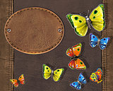 butterflies with label and leahter brown texture