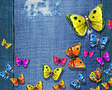 butterflies on jeans texture