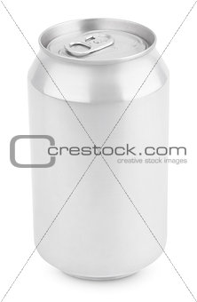 Aluminum soda can isolated on white